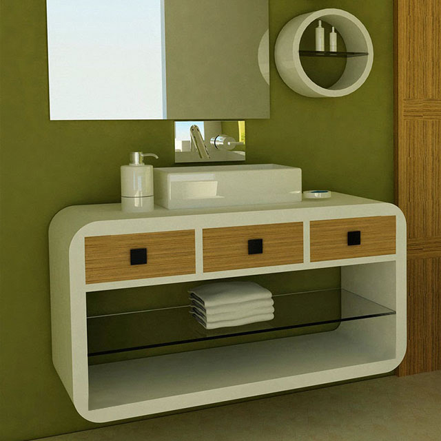 Заоблени шкафове за баня